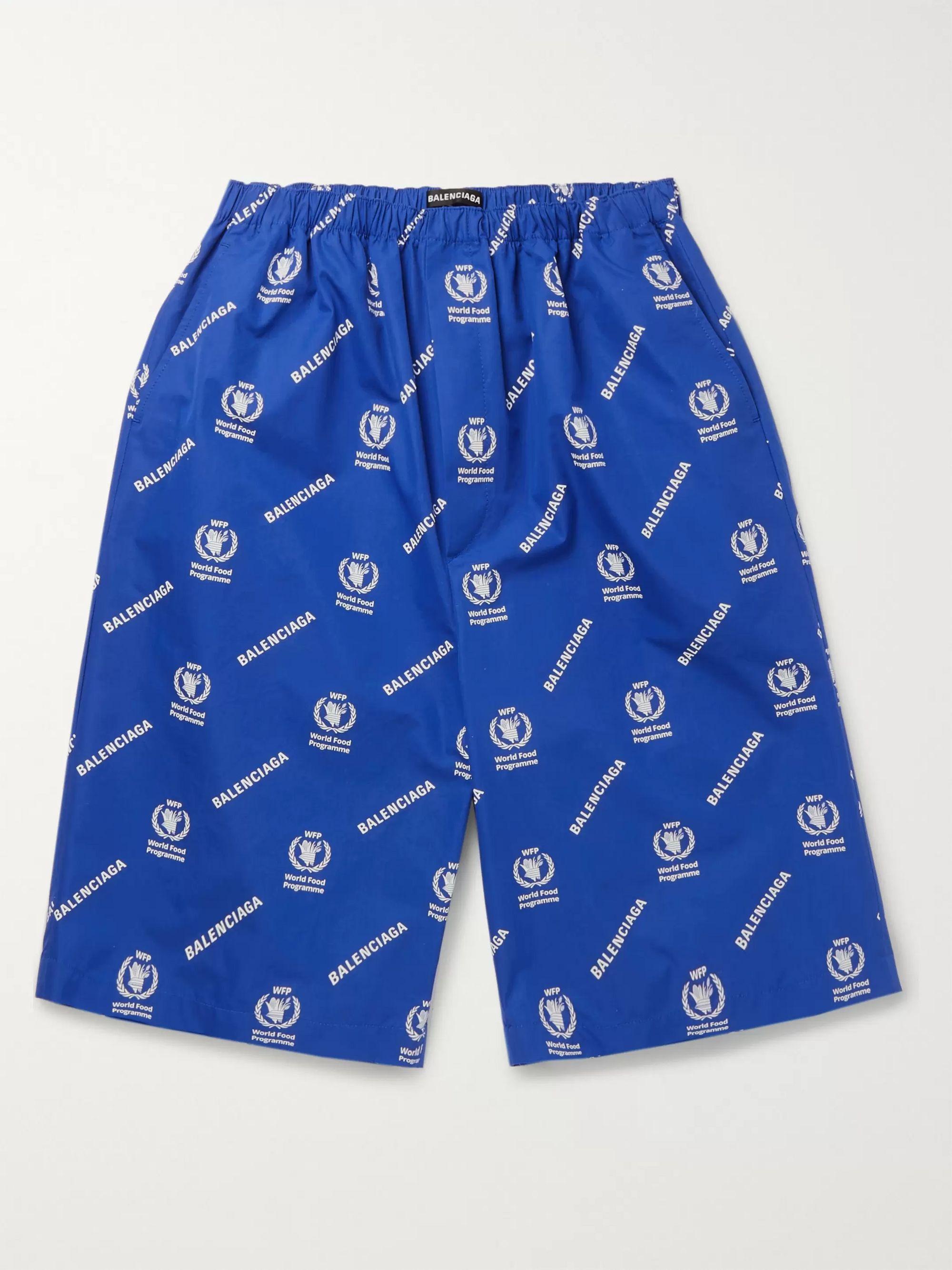 발렌시아가 Balenciaga + World Food Programme Oversized Logo-Print Cotton Shorts,Blue