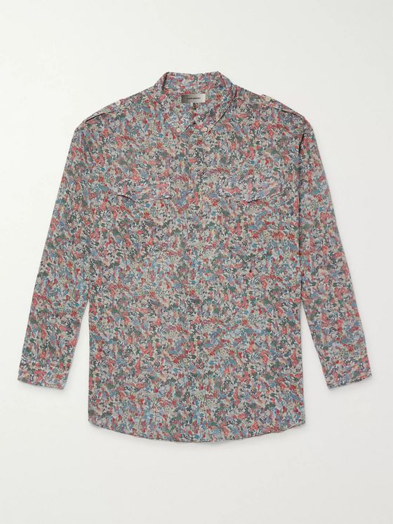 Isabel Marant Neton Button-Down Collar Printed Cotton Shirt