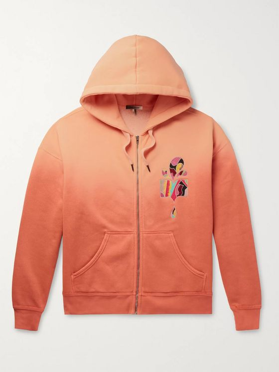 Isabel Marant Mikoas Appliquéd Dégradé Fleece-Back Cotton-Blend Jersey Zip-Up Hoodie