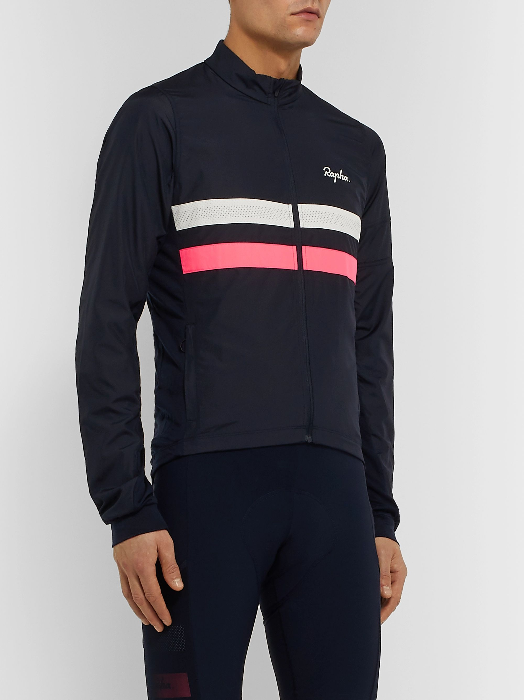 Rapha Brevet Windblock Striped Panelled Cycling Jersey
