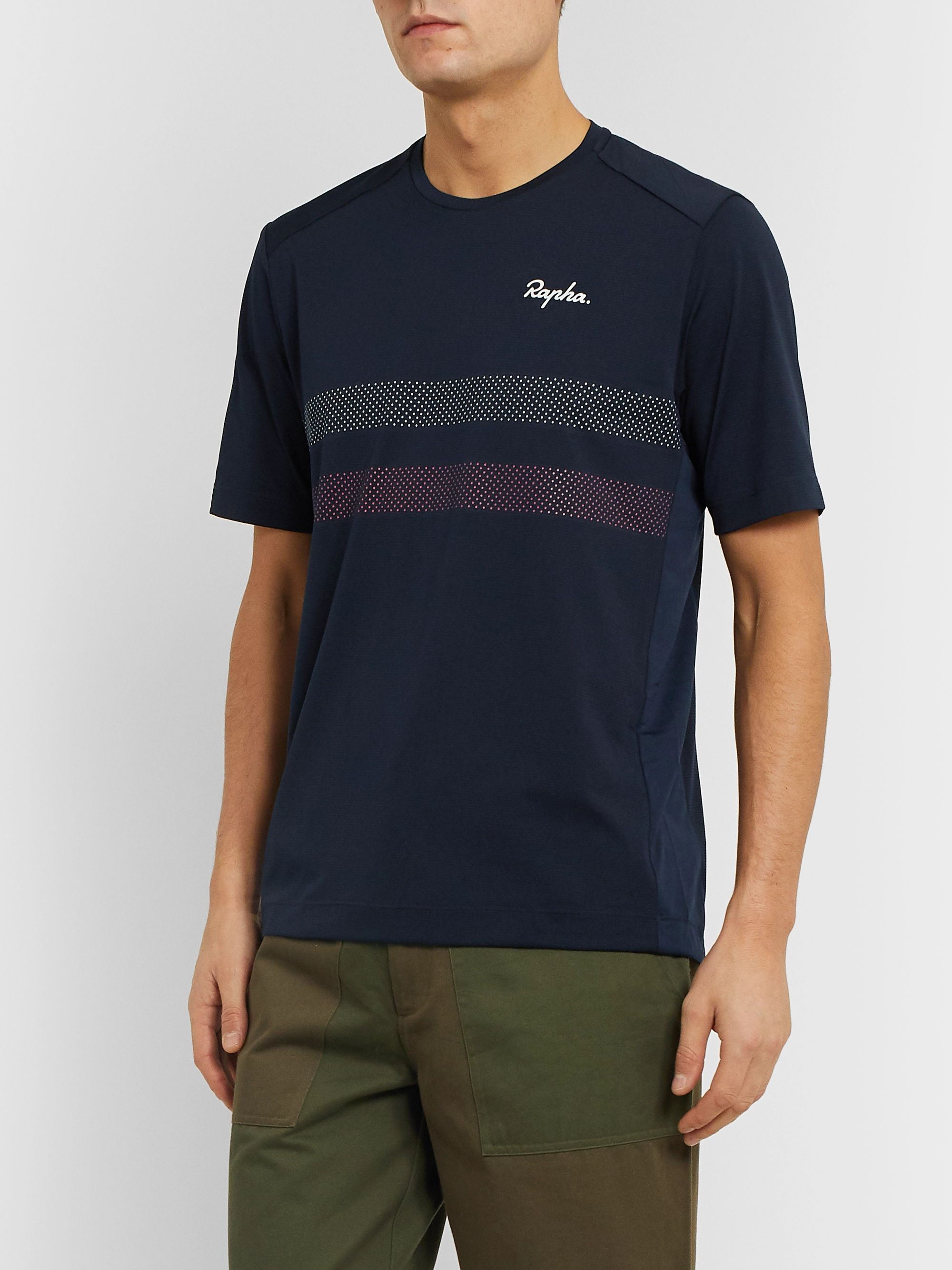 Rapha Explore Technical Striped Stretch-Mesh T-Shirt