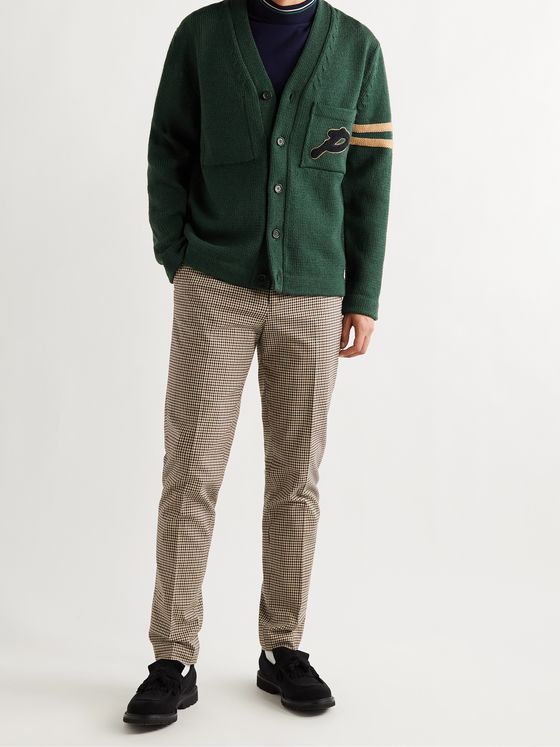 MR P. Logo-Appliquéd Striped Merino Wool Golf Cardigan