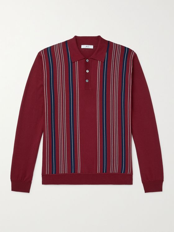 MR P. Striped Cotton Golf Polo Shirt