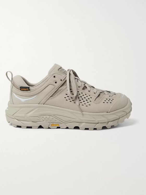 Hoka One One + Engineered Garments Tor Rubber-Trimmed Leather and Nylon Sneakers