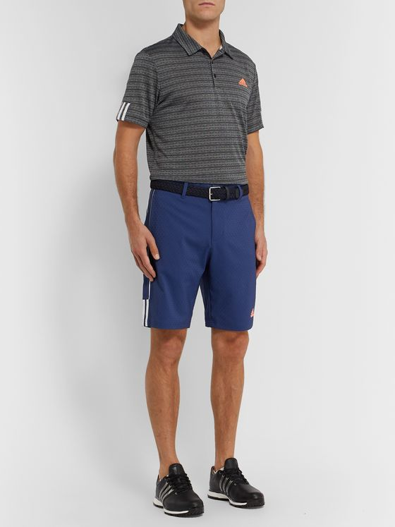 Adidas Golf Striped Tech-Jersey Golf Polo Shirt