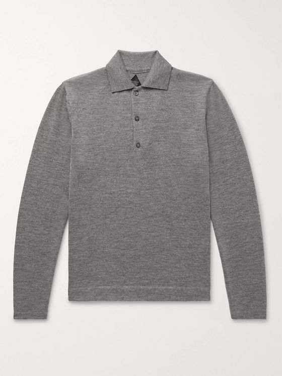 Denis Frison Slim-Fit Knitted Mélange Cashmere Polo Shirt