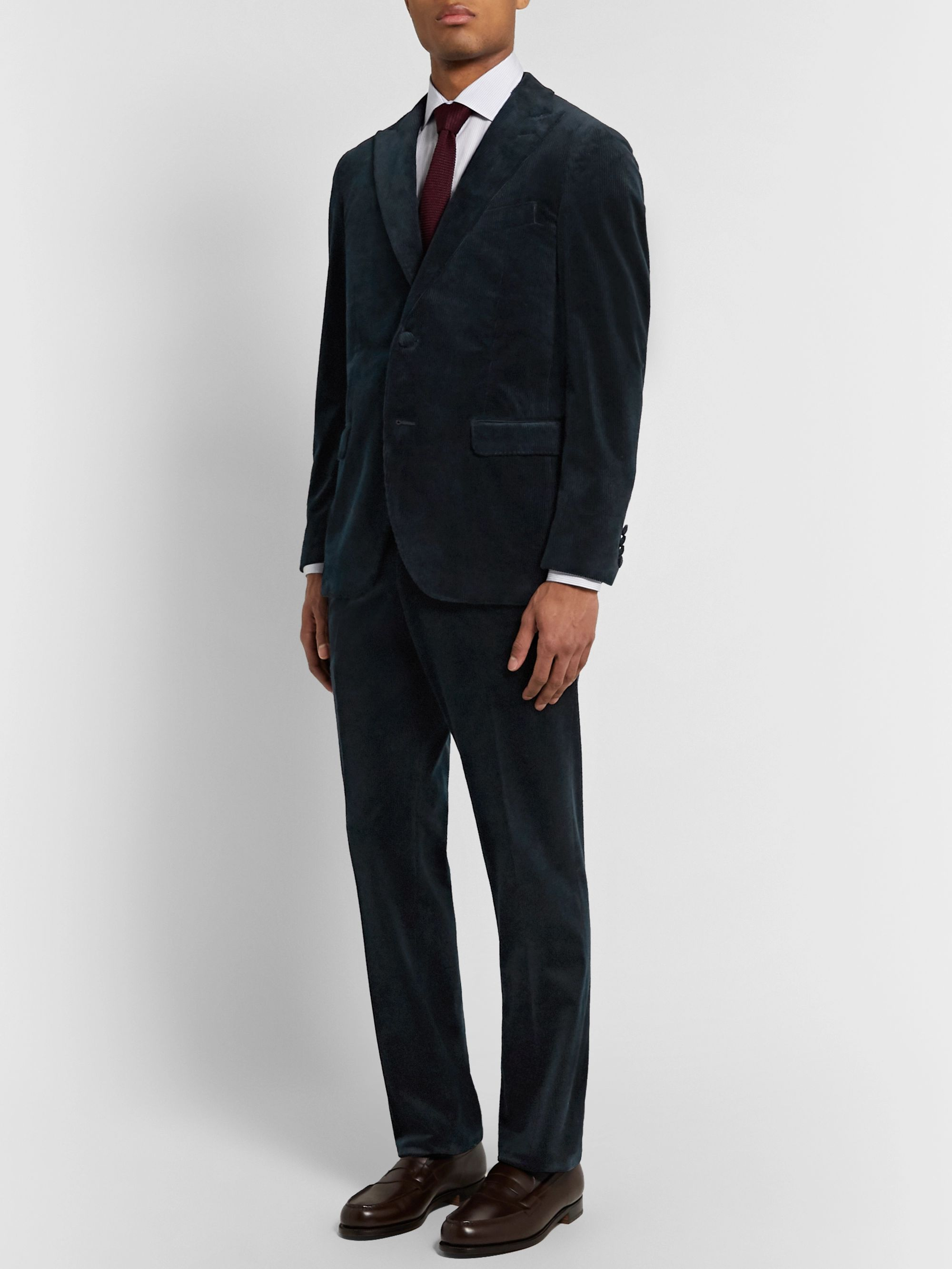 Denis Frison Navy Cotton-Corduroy Suit Trousers
