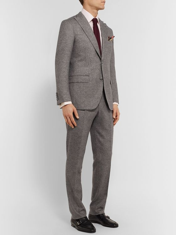 Denis Frison Grey Chevron Wool Suit Trousers