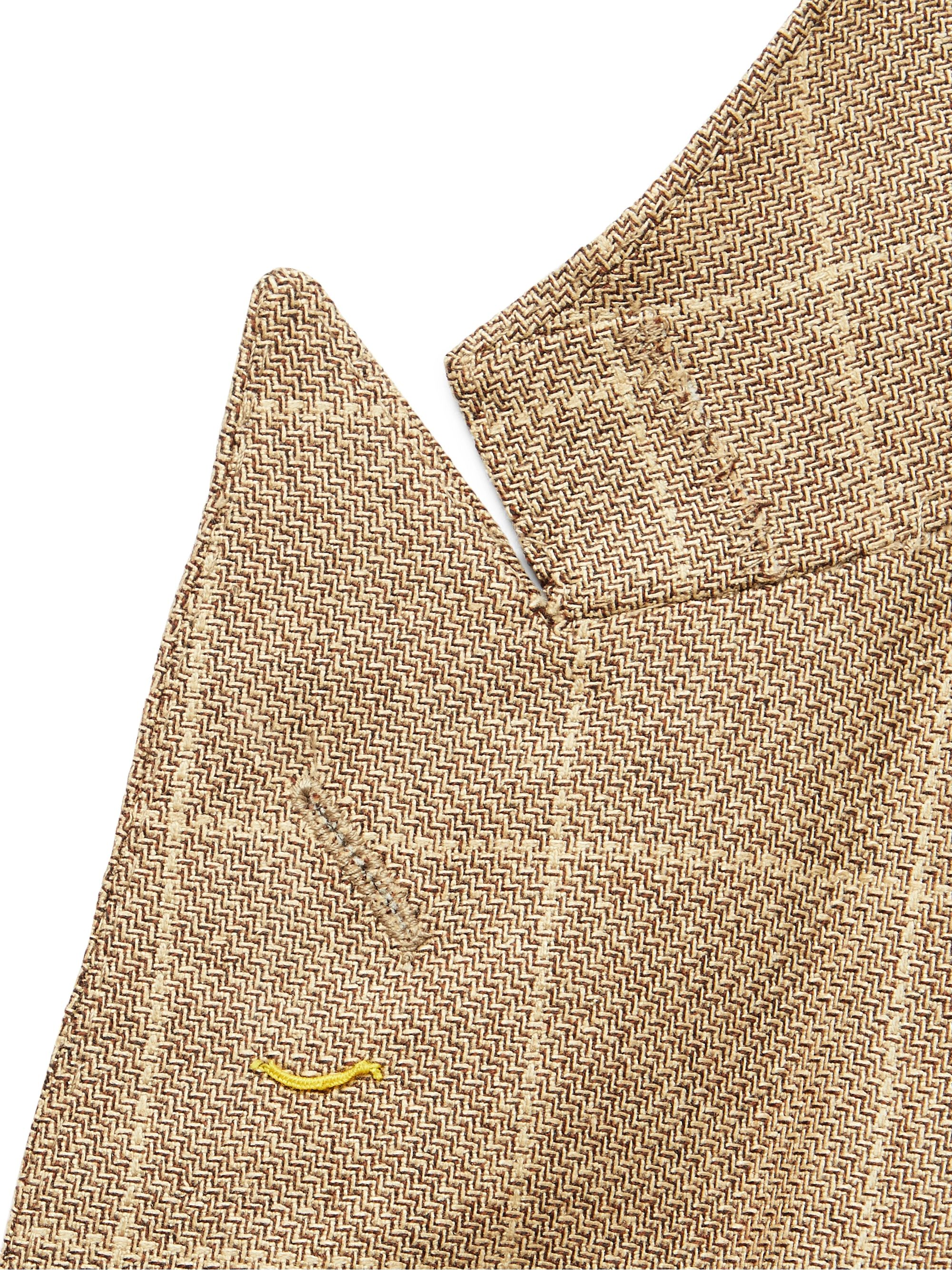 Denis Frison Light-Brown Checked Wool and Silk-Blend Blazer