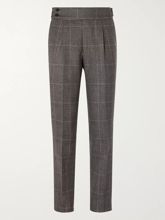Denis Frison Grey Slim-Fit Pleated Prince of Wales Checked Wool Trousers