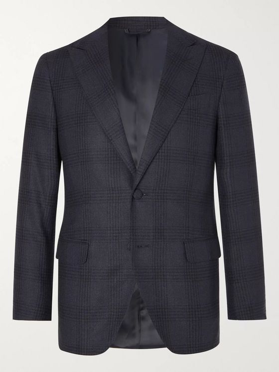 Denis Frison Navy Prince of Wales Checked Wool Suit Jacket