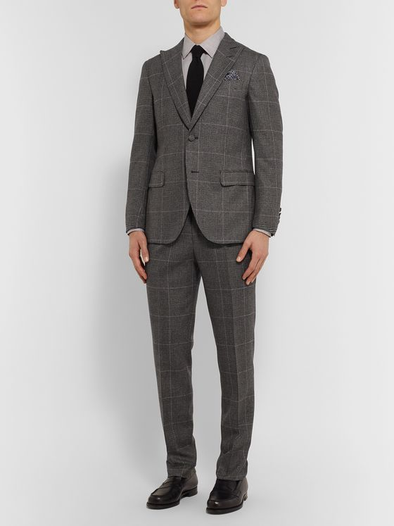 Denis Frison Grey Prince of Wales Checked Wool Suit Jacket
