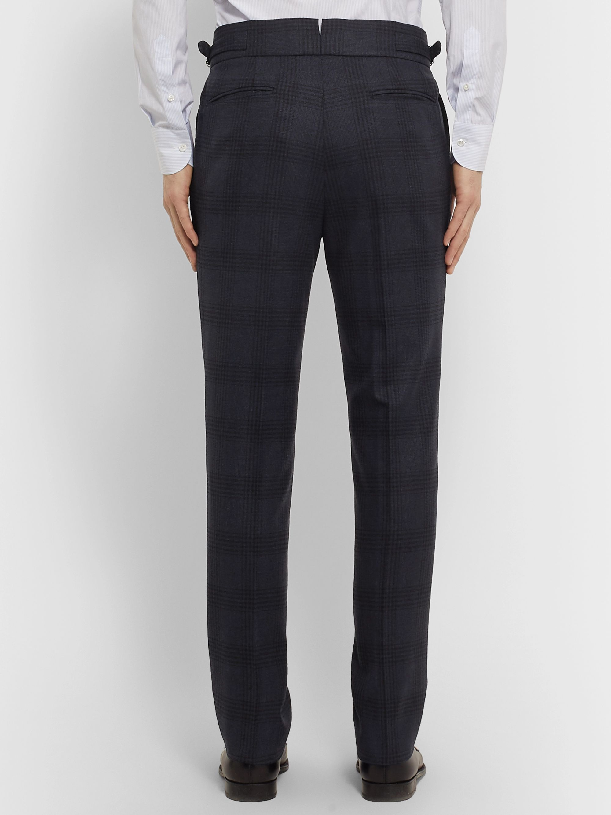 Denis Frison Navy Pleated Prince of Wales Checked Wool Suit Trousers
