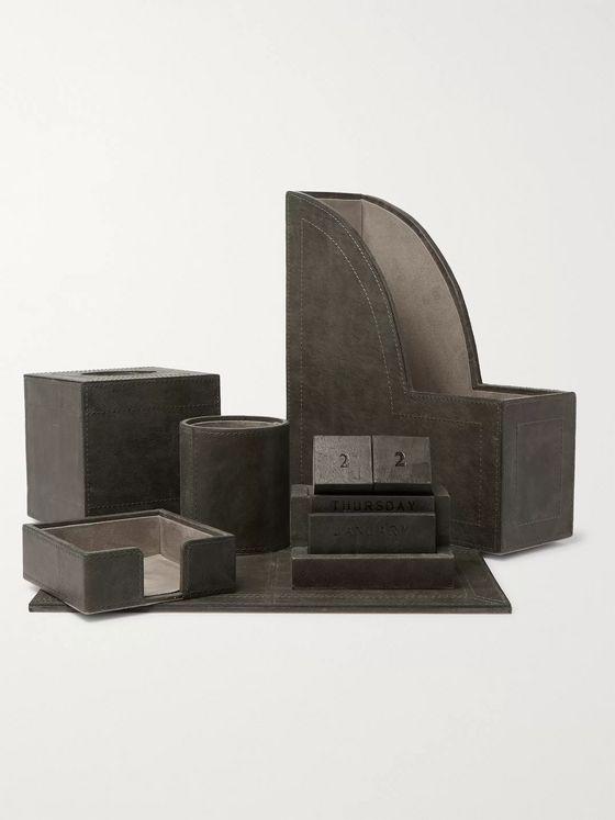 Ben Soleimani Five-Piece Leather Desk Set