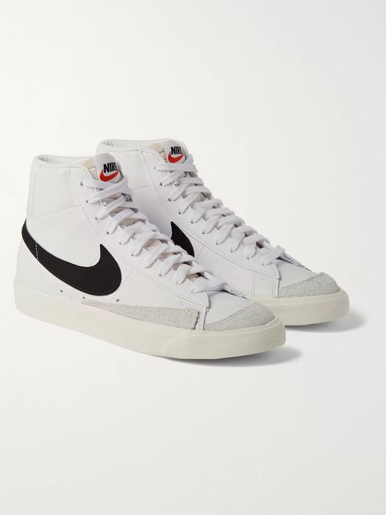 Nike Blazer Mid '77 Suede-Trimmed Leather Sneakers