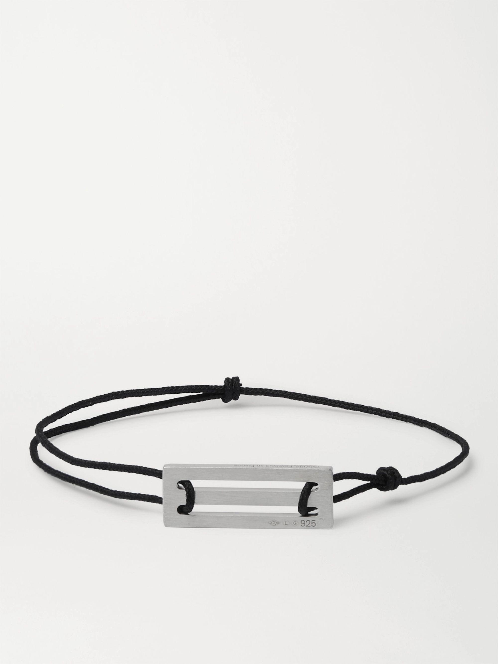 르그램 팔찌 Le Gramme Le 25/10 Cord and Sterling Silver Bracelet,Black