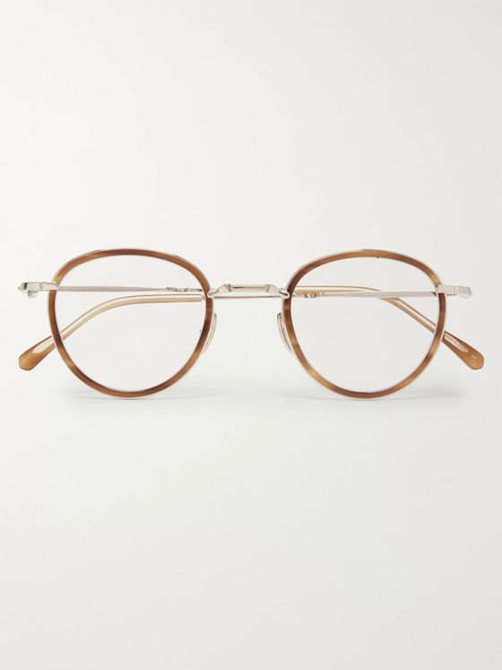 Mr Leight Mulholland C Round-Frame Tortoiseshell Acetate and White Gold-Plated Glasses