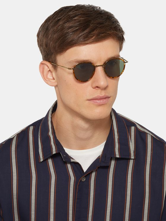 Mr Leight Mulholland Round-Frame Tortoiseshell Acetate and Titanium Sunglasses