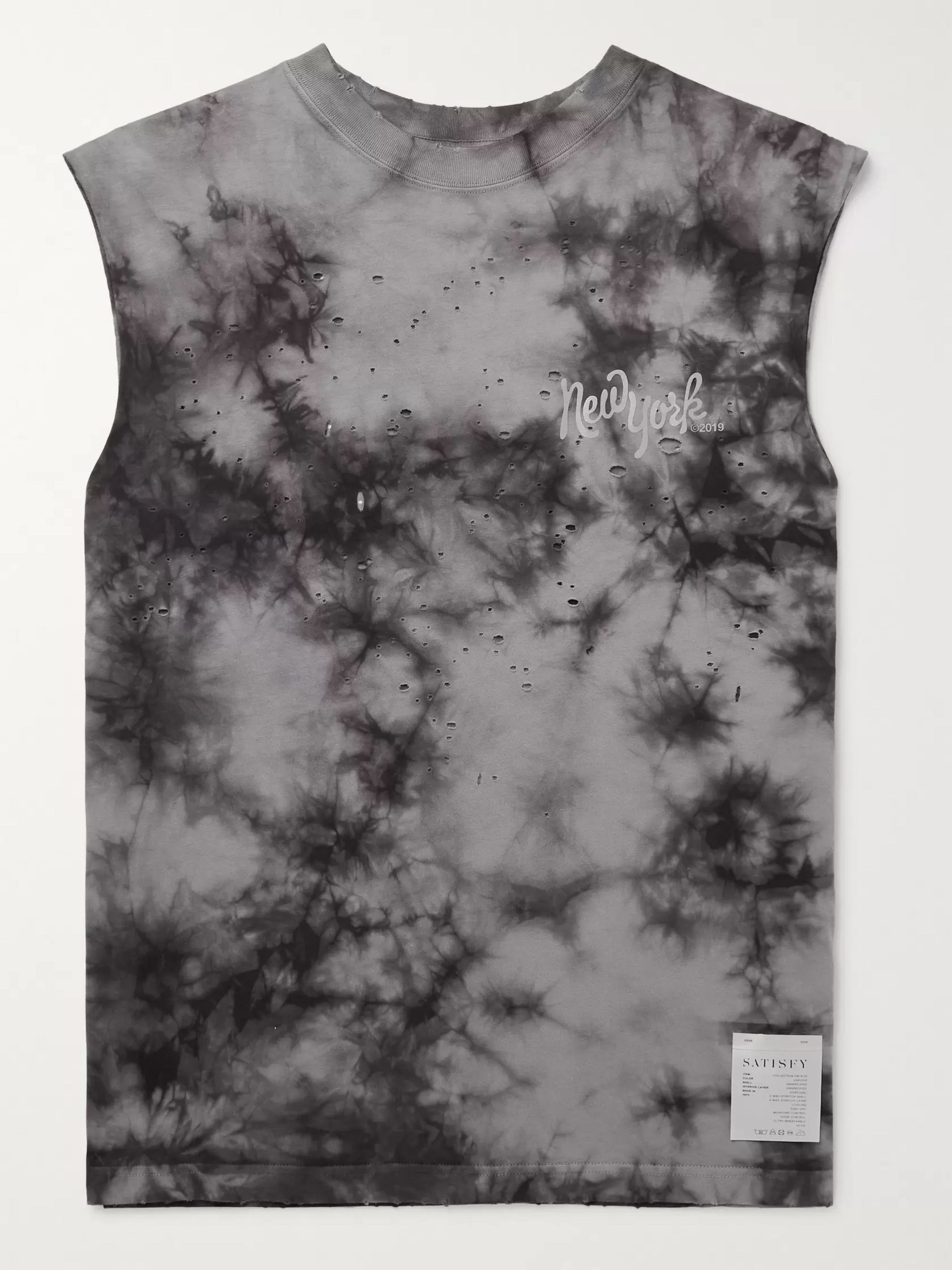 Satisfy Distressed Printed Tie-Dyed Cotton-Jersey Tank Top