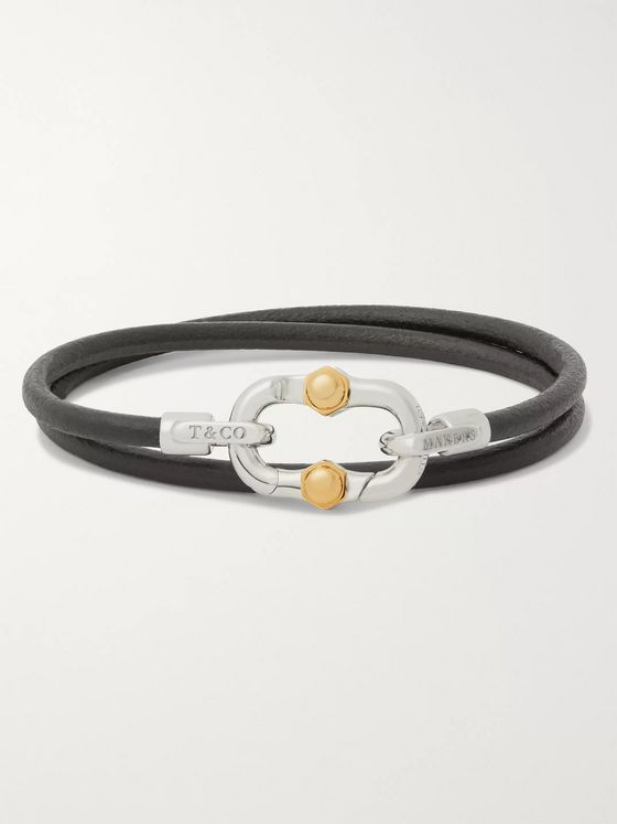 Tiffany & Co. Tiffany 1837 Makers Leather, Sterling Silver and 18-Karat Gold Wrap Bracelet