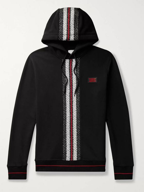 Burberry Logo-Print Striped Loopback Cotton-Jersey Hoodie