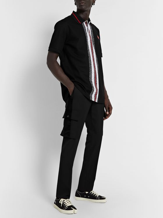 Burberry Slim-Fit Logo-Print Striped Cotton-Piqué Polo Shirt