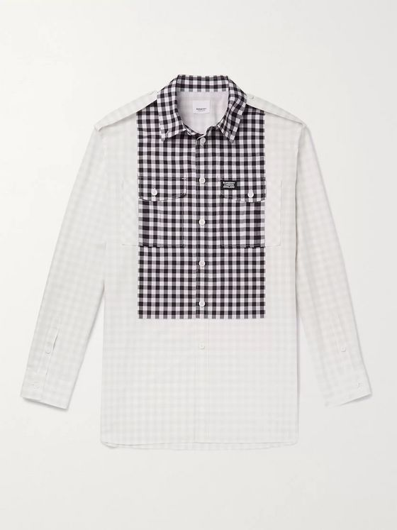 Burberry Oversized Button-Down Collar Bib-Front Gingham Cotton Shirt