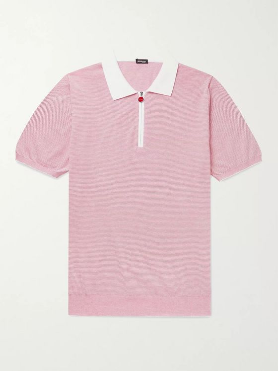 KITON Striped Cotton Half-Zip Polo Shirt
