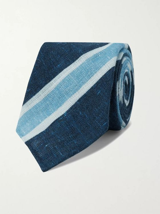 Kiton 7.5cm Striped Linen Tie