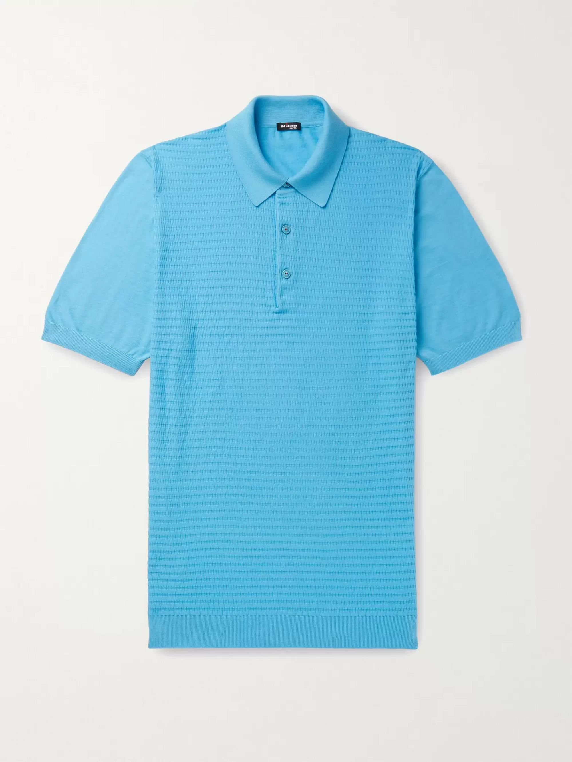 KITON Slim-Fit Waffle-Knit Cotton Polo Shirt