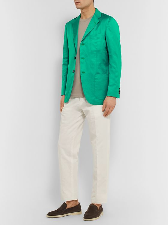 Kiton Green Slim-Fit Unstructured Cotton and Linen-Blend Blazer