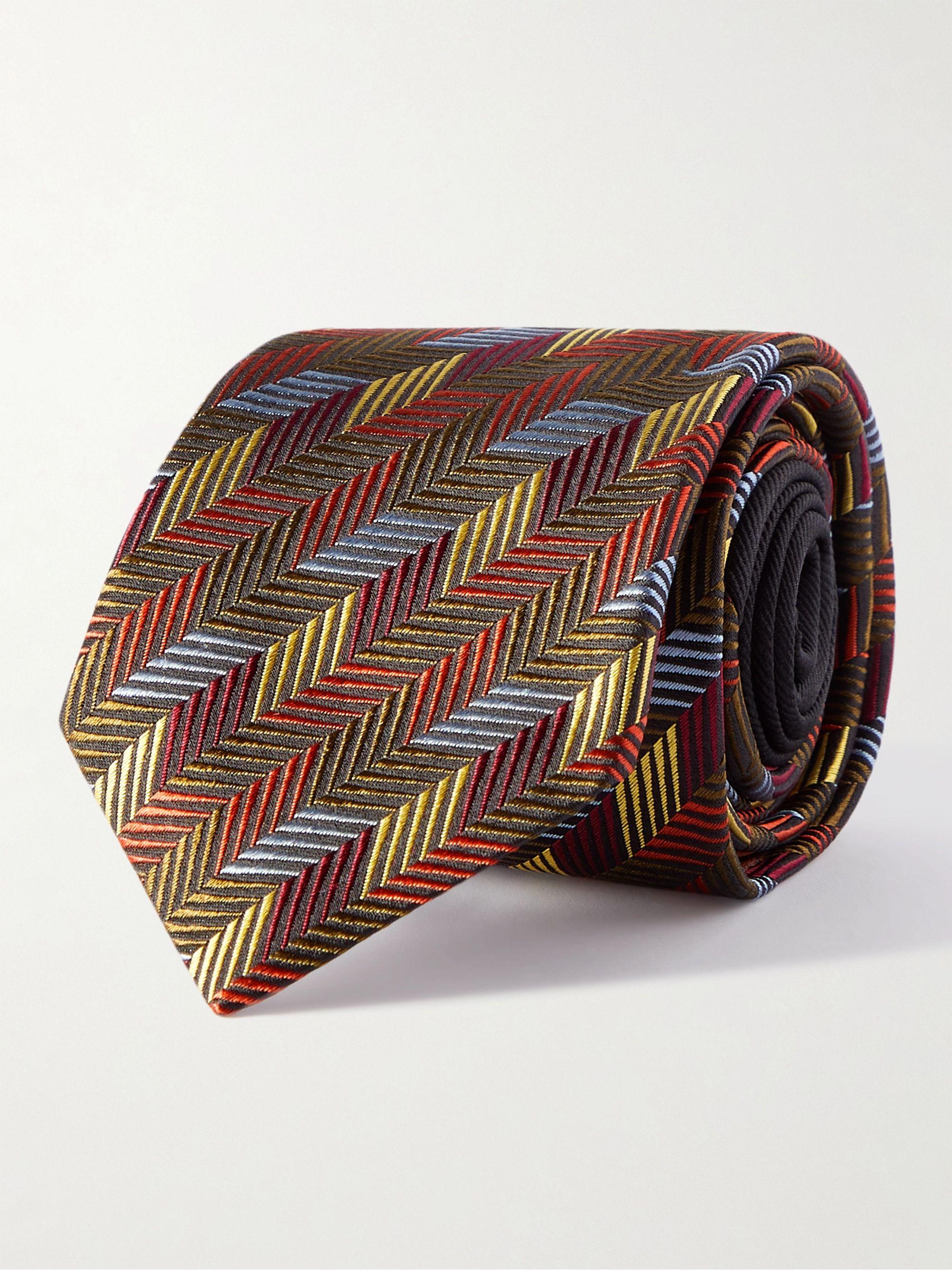 미쏘니 넥타이 Missoni 7cm Silk-Jacquard Tie,Brown