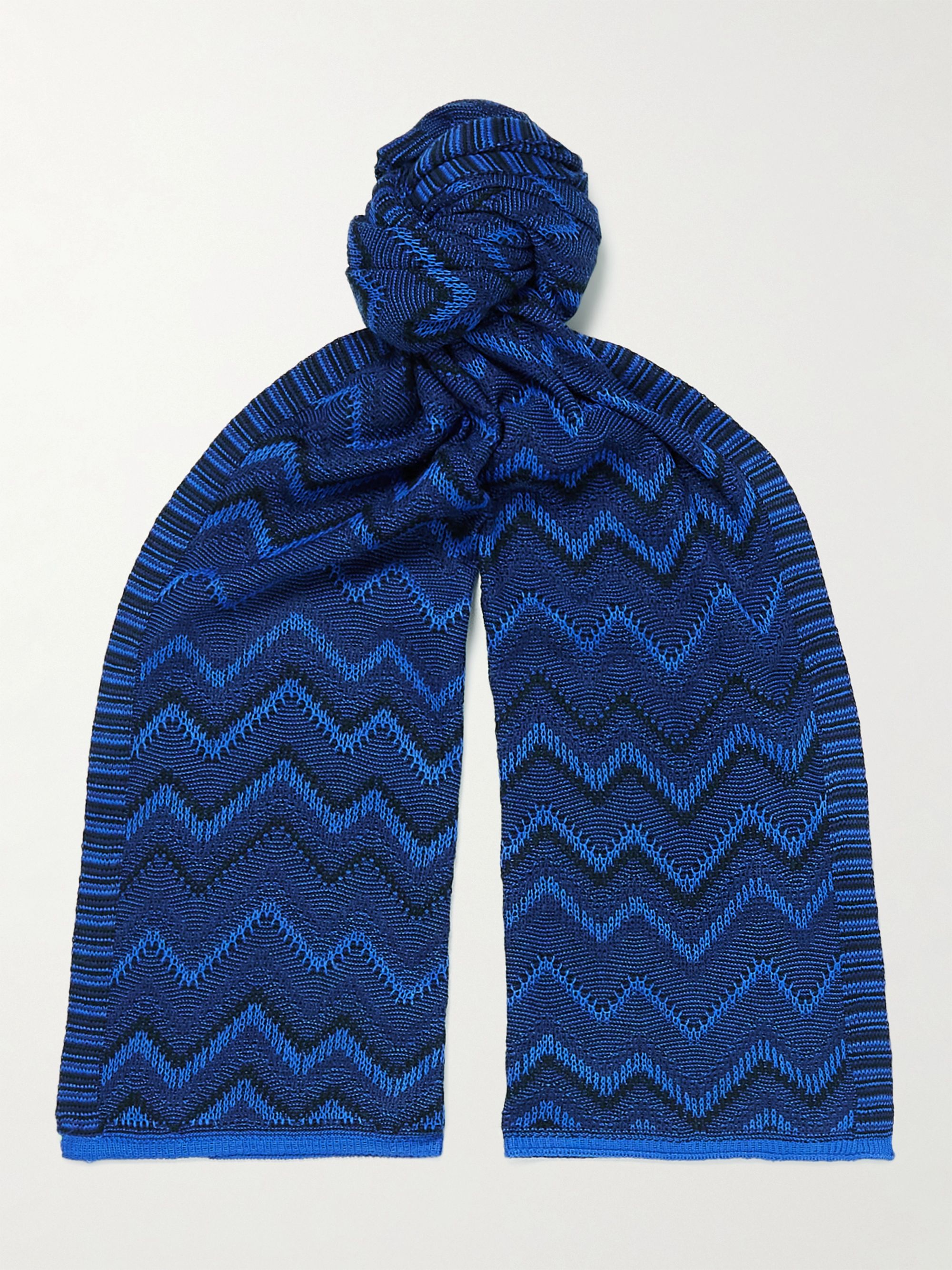 미쏘니 스카프 Missoni Crochet-Knit Wool-Blend Scarf,Blue