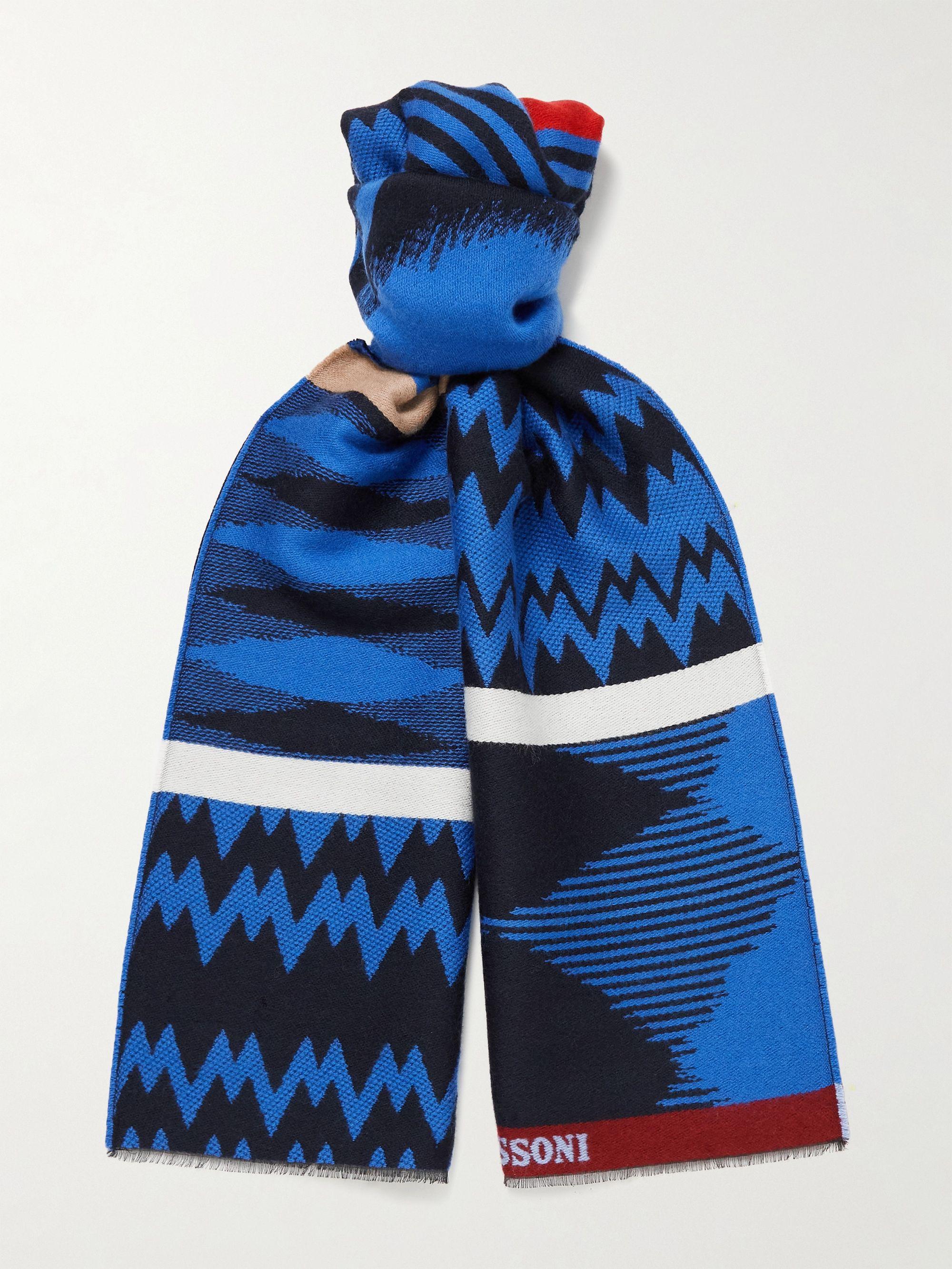 미쏘니 스카프 Missoni Fringed Wool and Cotton-Blend Scarf,Blue