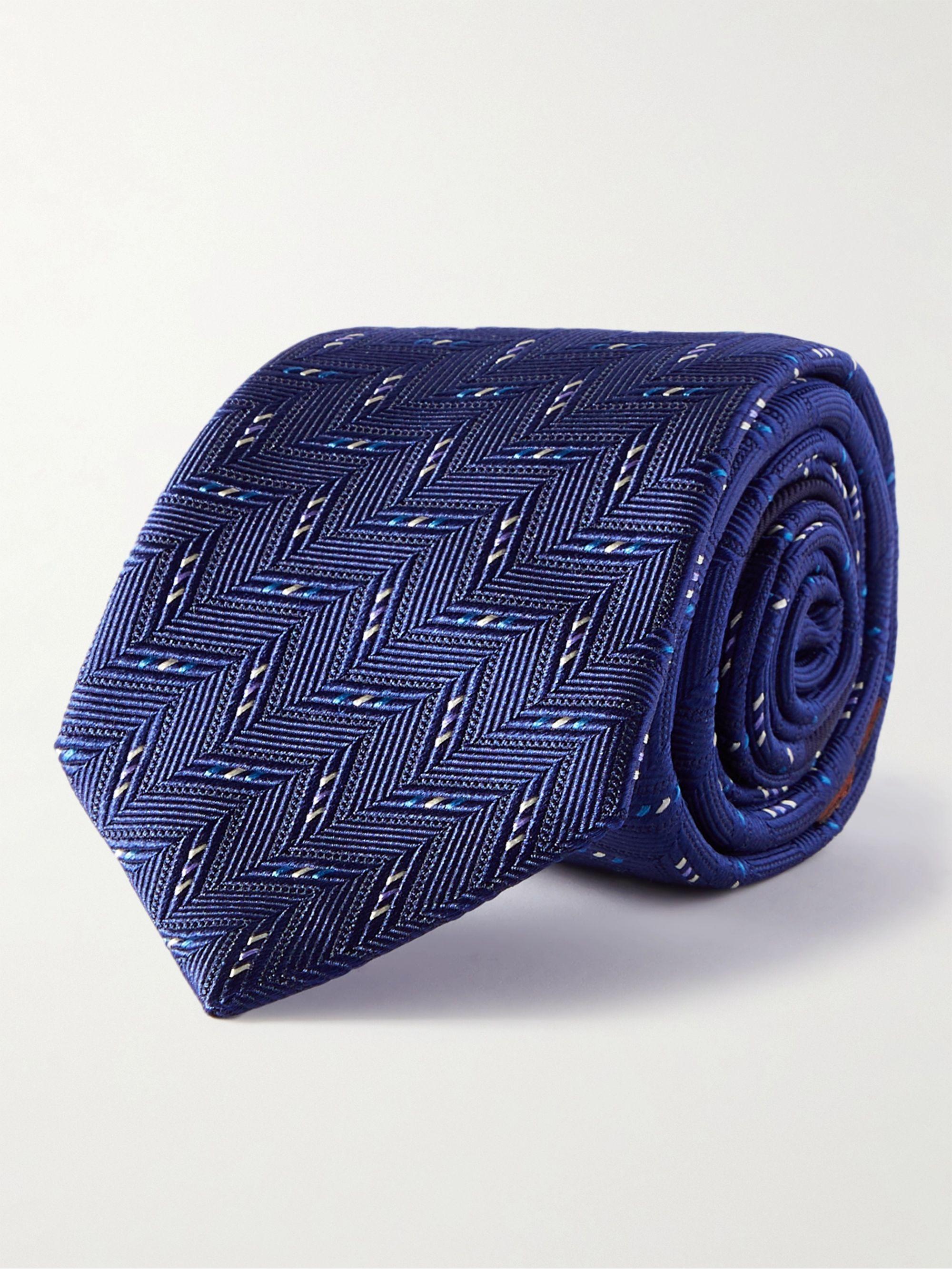 미쏘니 넥타이 Missoni 7cm Silk-Jacquard Tie,Blue