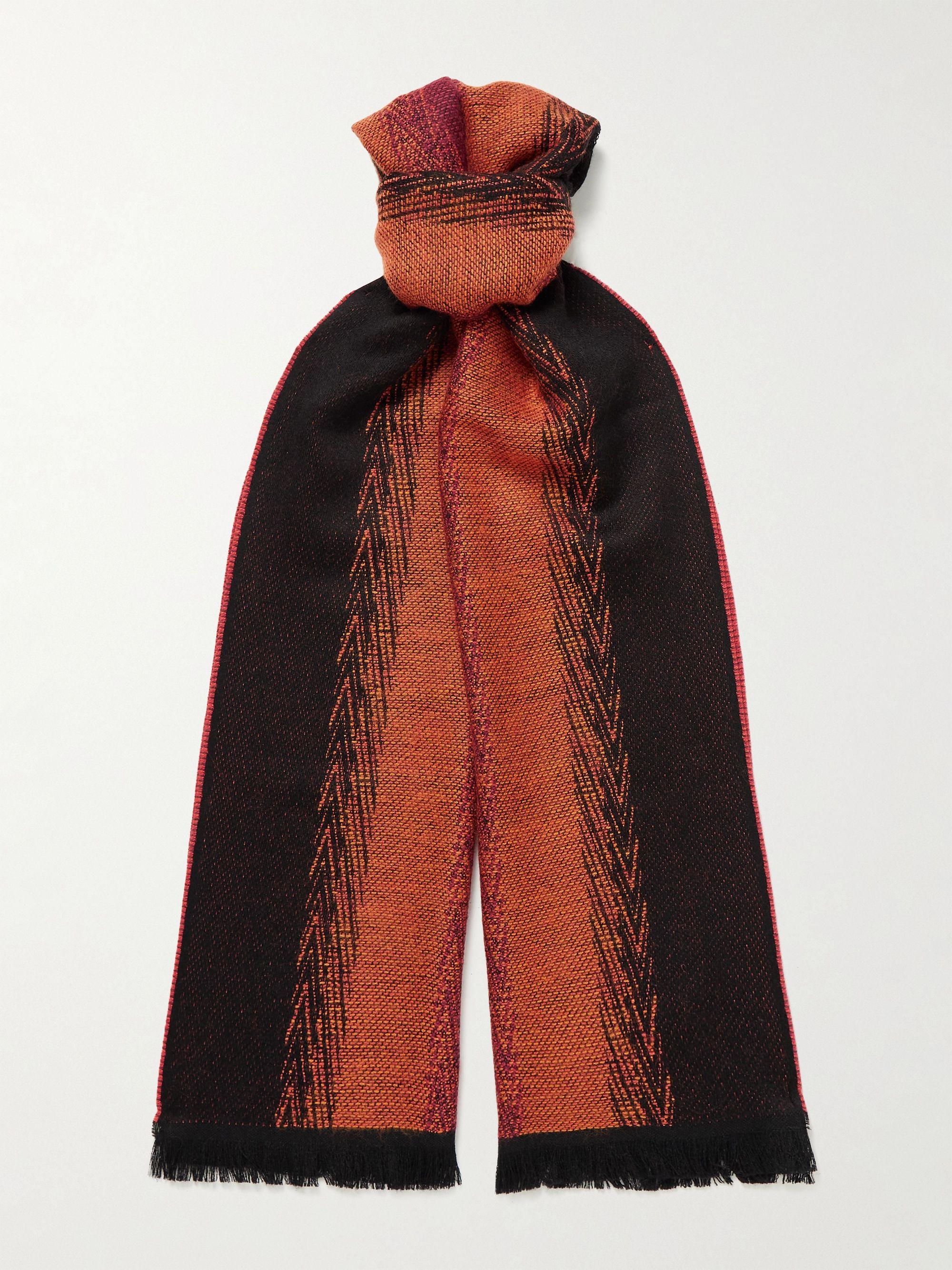 미쏘니 스카프 Missoni Fringed Wool and Cotton-Blend Scarf,Brown