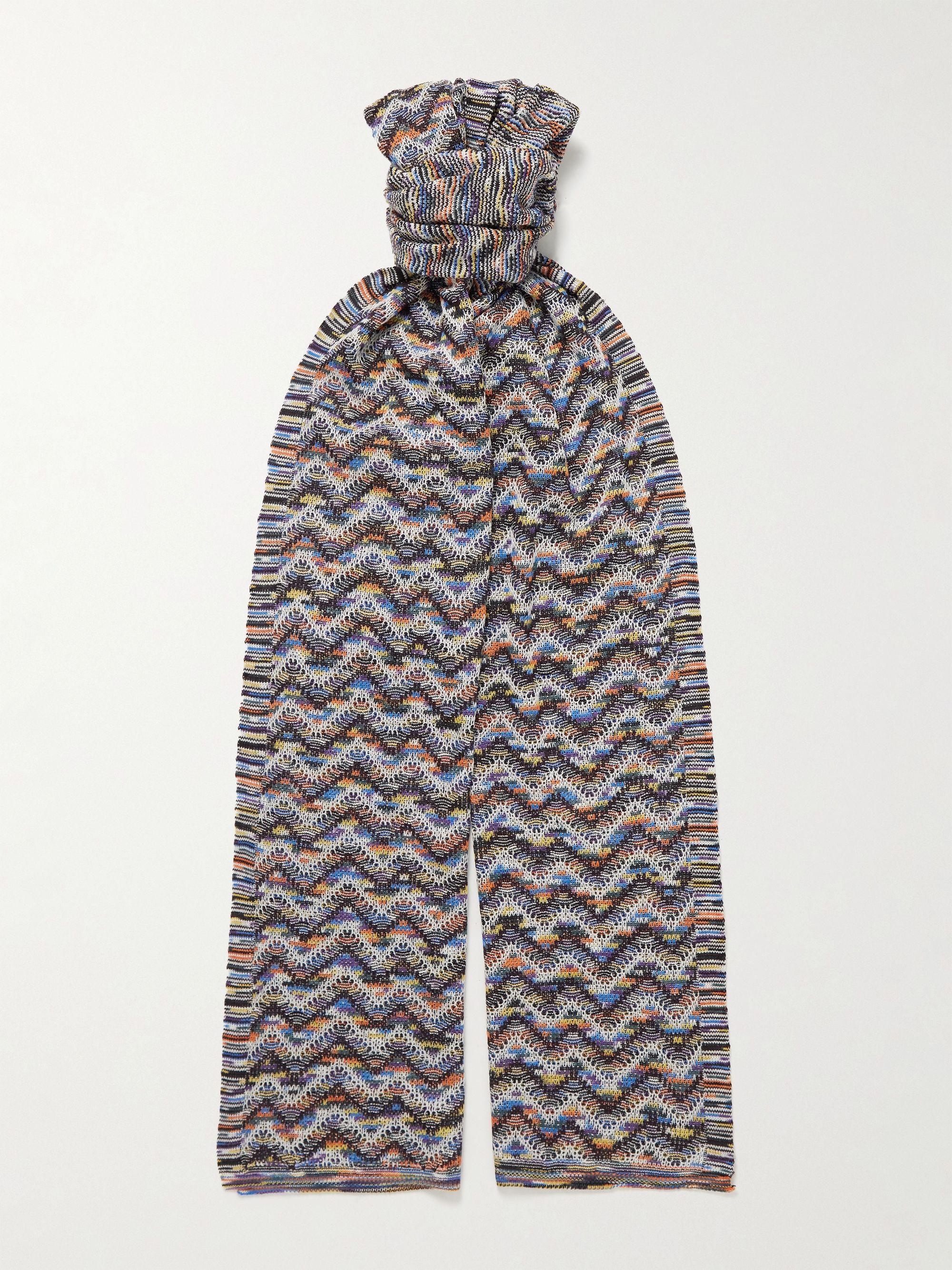 미쏘니 스카프 Missoni Crochet-Knit Wool Scarf,Multi