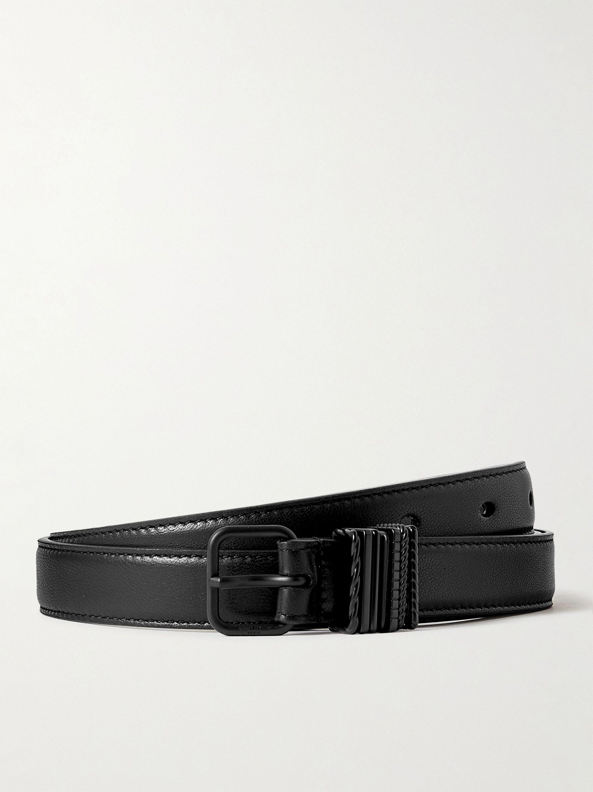 생 로랑 벨트 Saint Laurent 2cm Leather Belt,Black