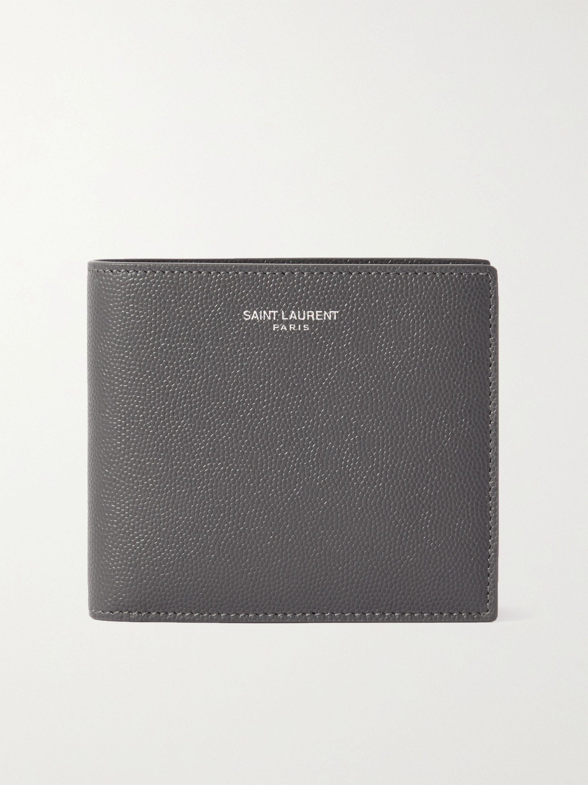 생 로랑 반지갑 Saint Laurent Logo-Print Pebble-Grain Leather Billfold Wallet,Gray