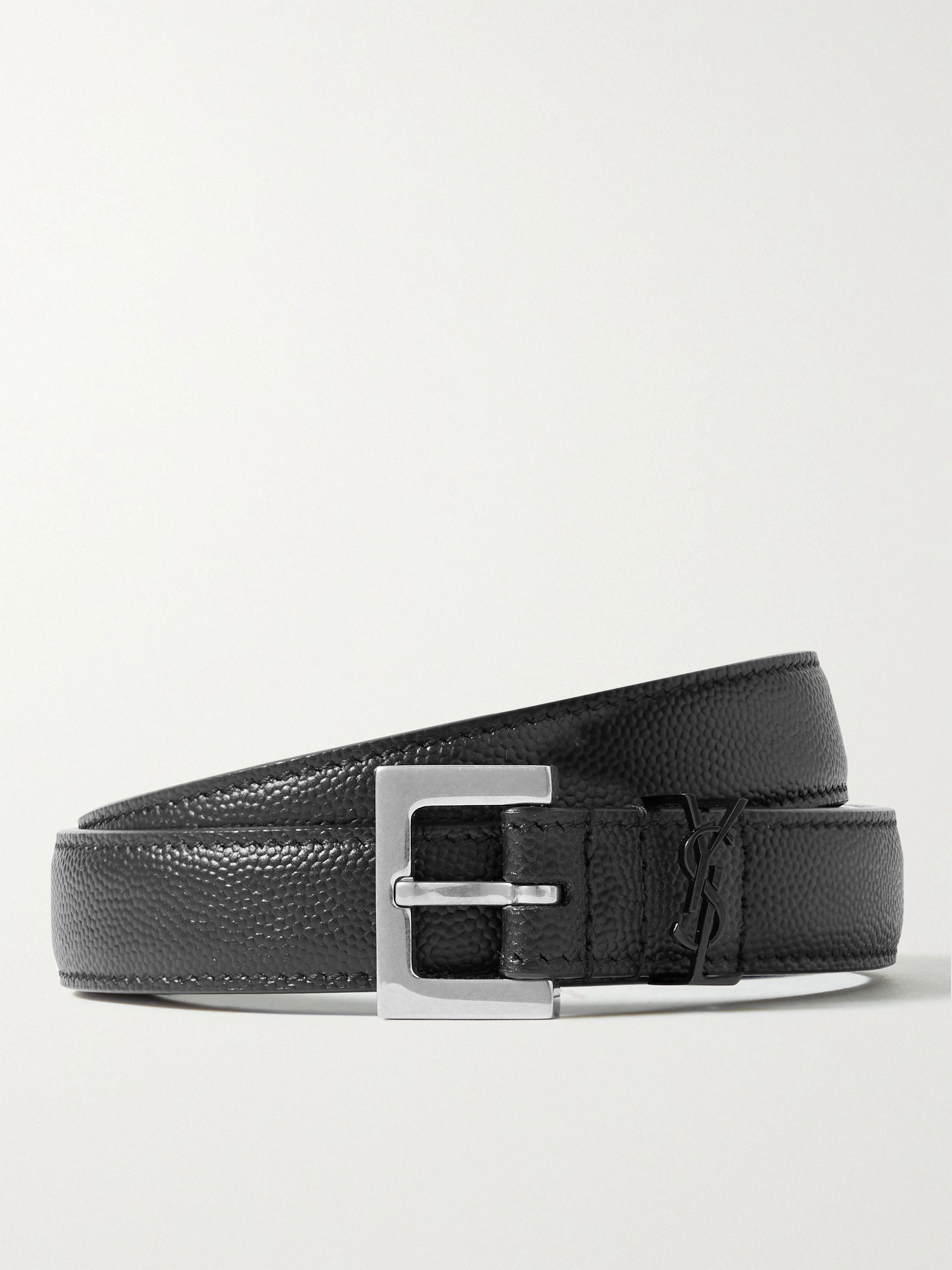 생 로랑 벨트 Saint Laurent 2cm Pebble-Grain Leather Belt,Black