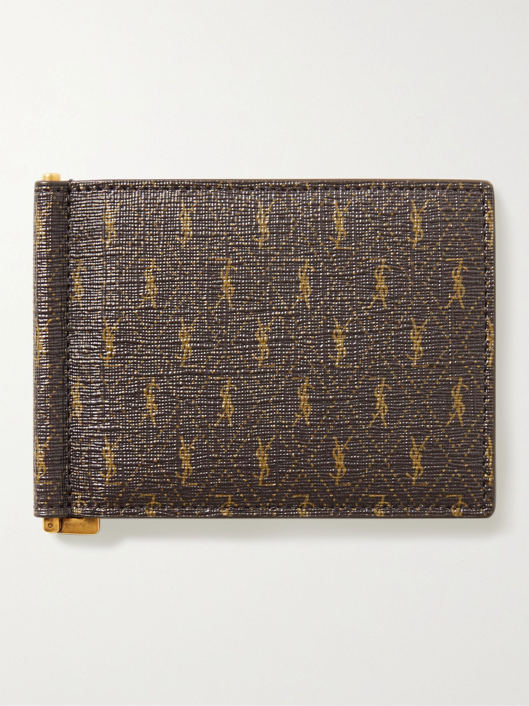생 로랑 카드 지갑 Saint Laurent Monogrammed Coated-Canvas Billfold Wallet with Money Clip,Brown