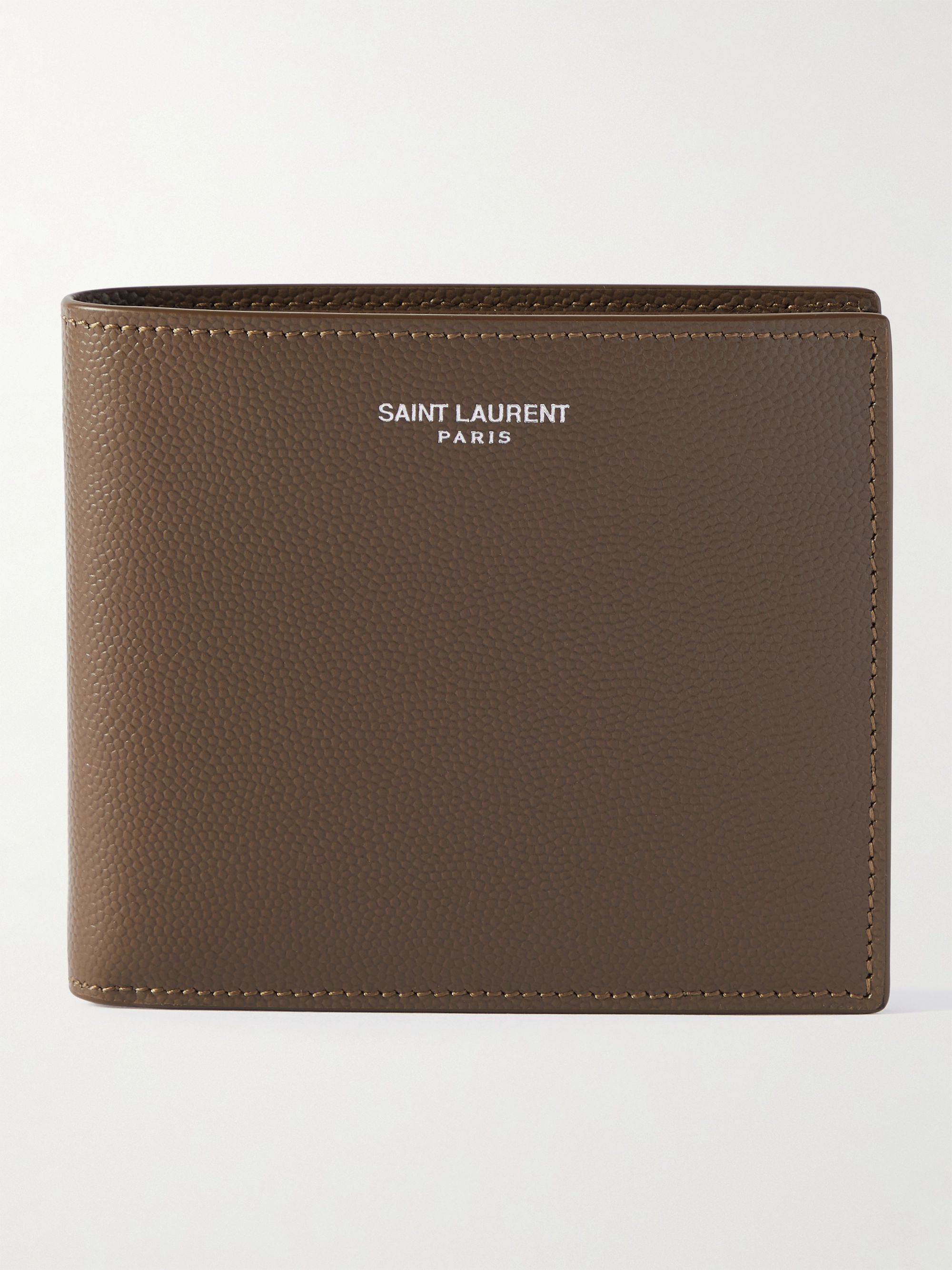 생 로랑 반지갑 Saint Laurent Logo-Print Pebble-Grain Leather Billfold Wallet,Brown