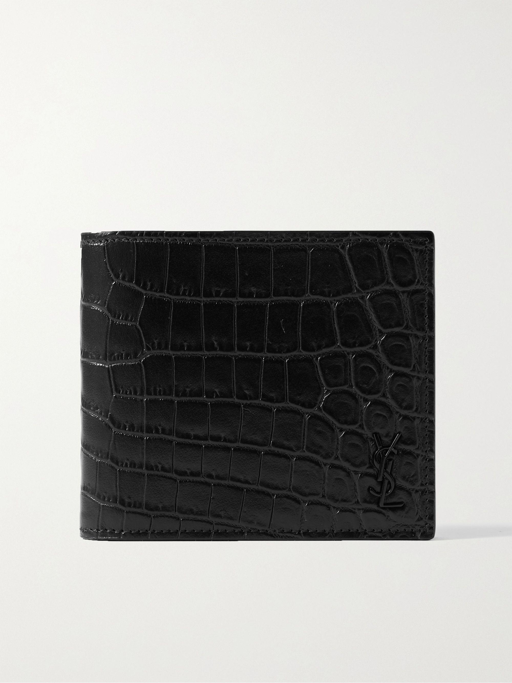 생 로랑 반지갑 Saint Laurent Logo-Appliqued Croc-Effect Leather Billfold Wallet,Black