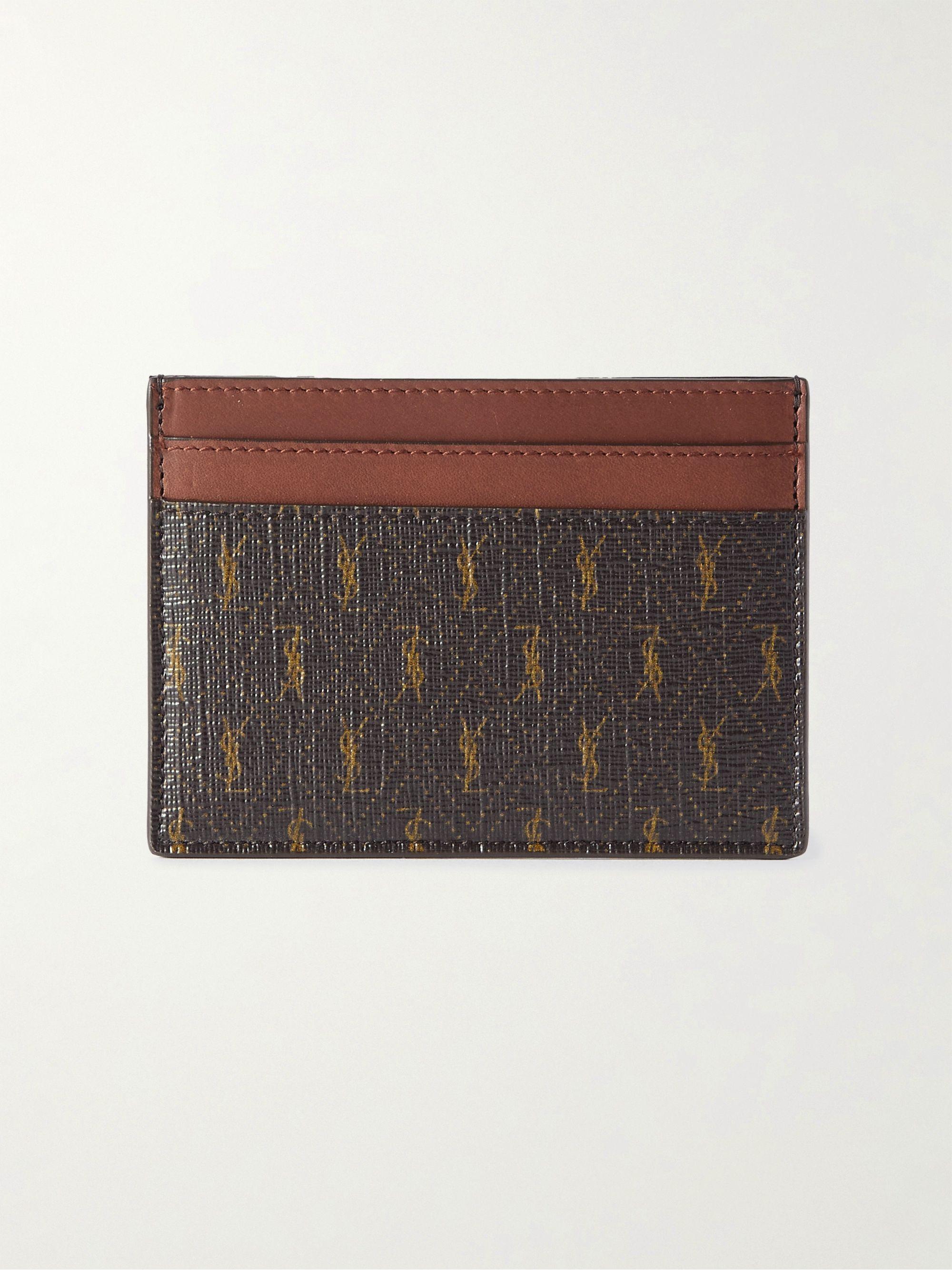 생 로랑 카드 지갑 Saint Laurent Leather-Trimmed Monogrammed Canvas Cardholder,Brown