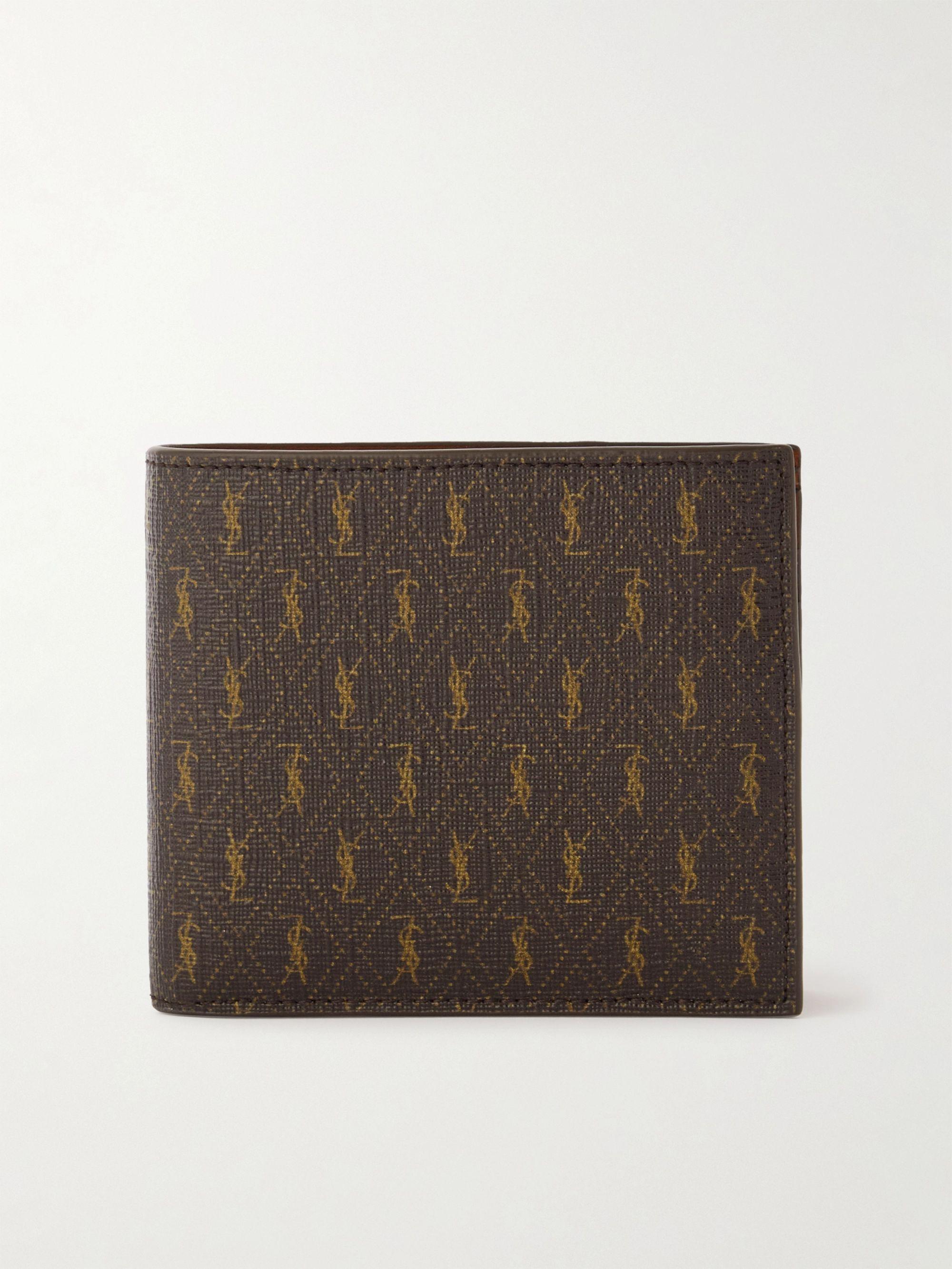 생 로랑 반지갑 Saint Laurent Leather-Trimmed Monogrammed Coated-Canvas Billfold Wallet,Brown
