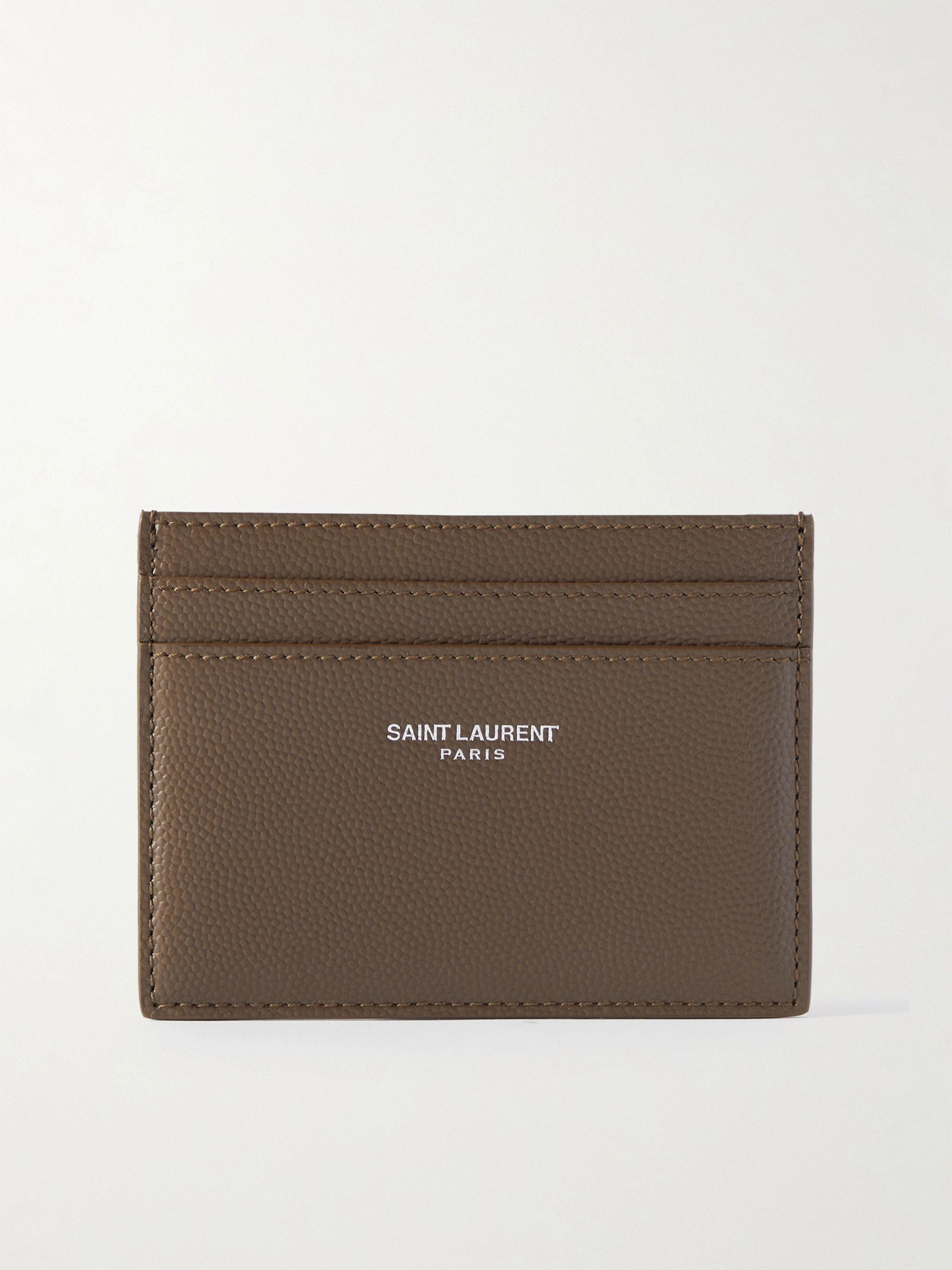 생 로랑 카드 지갑 Saint Laurent Logo-Print Pebble-Grain Leather Cardholder,Brown