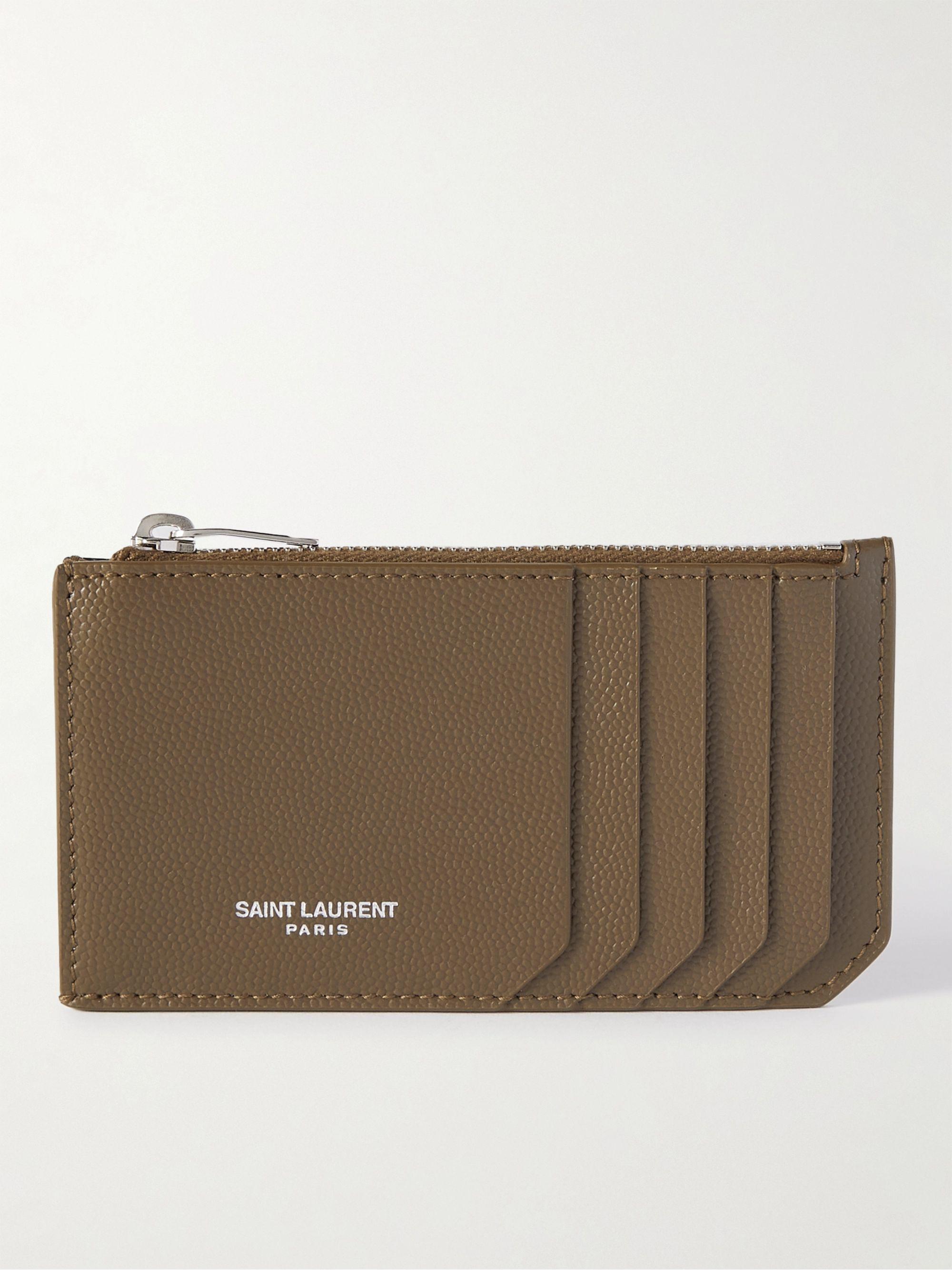 생 로랑 카드 지갑 Saint Laurent Pebble-Grain Leather Cardholder,Brown