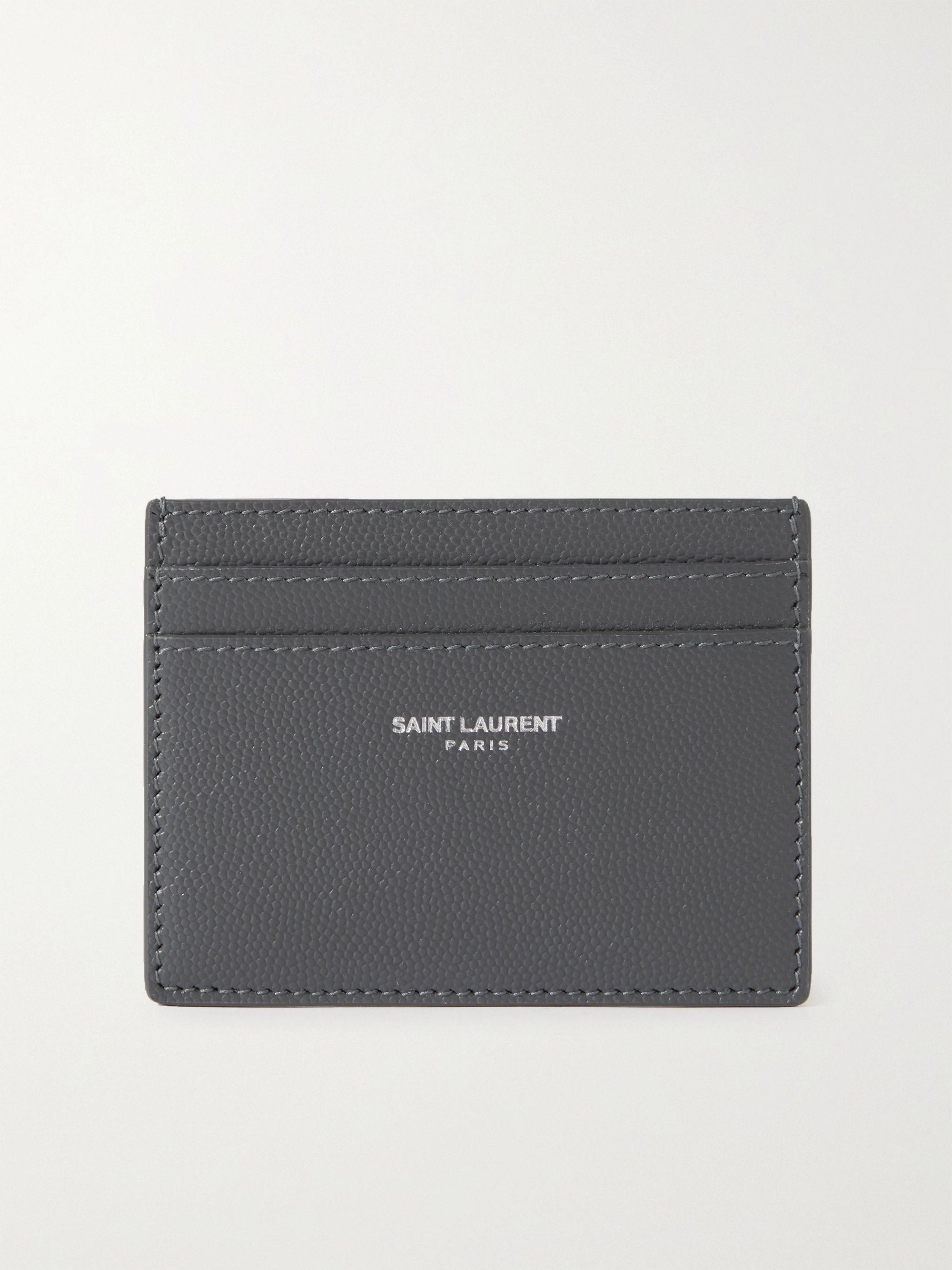 생 로랑 카드 지갑 Saint Laurent Logo-Print Pebble-Grain Leather Cardholder,Gray