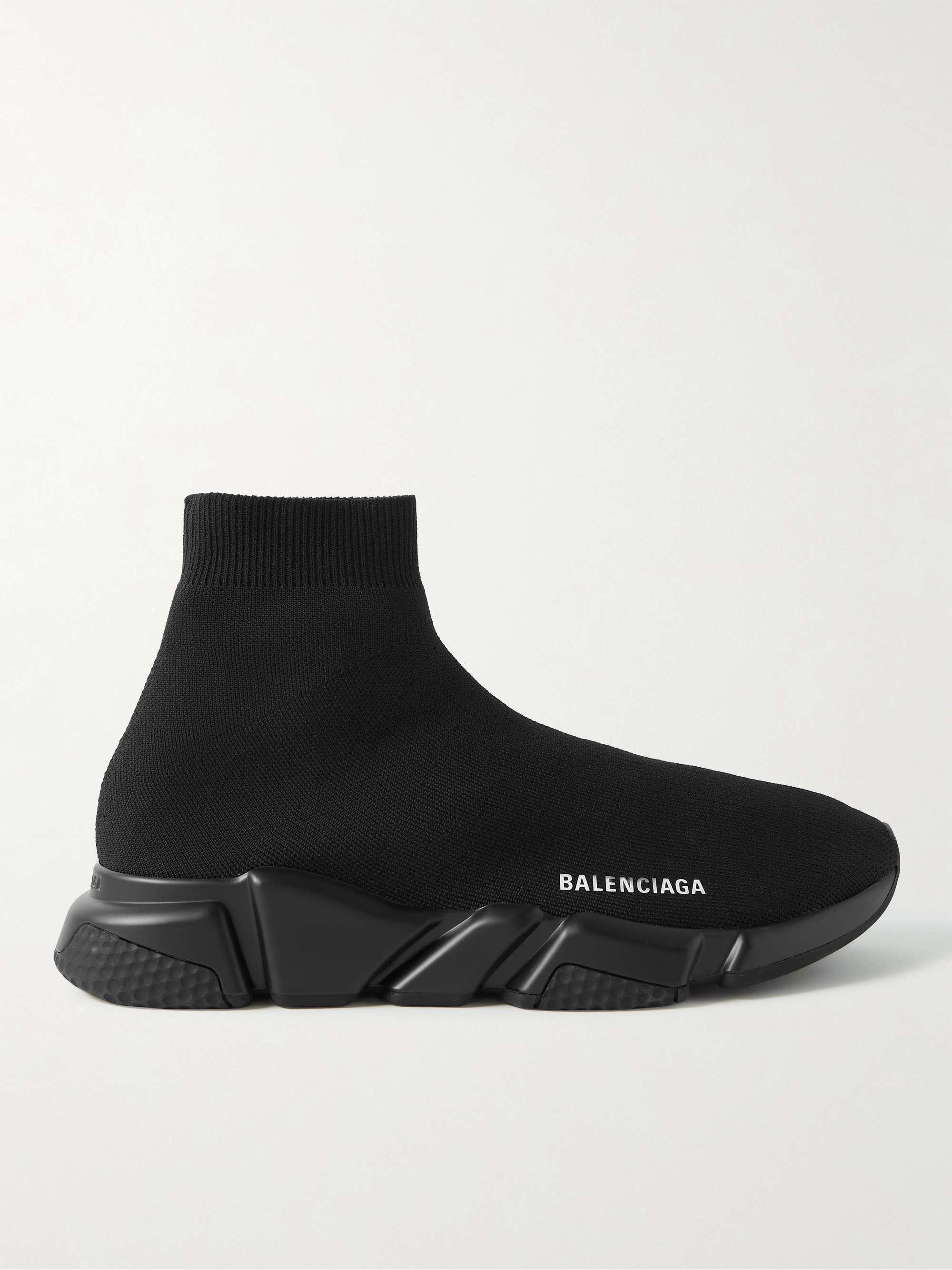 발렌시아가 스피드러너 남성용 - 올블랙 Balenciaga Speed Stretch-Knit Slip-On Sneakers,Black