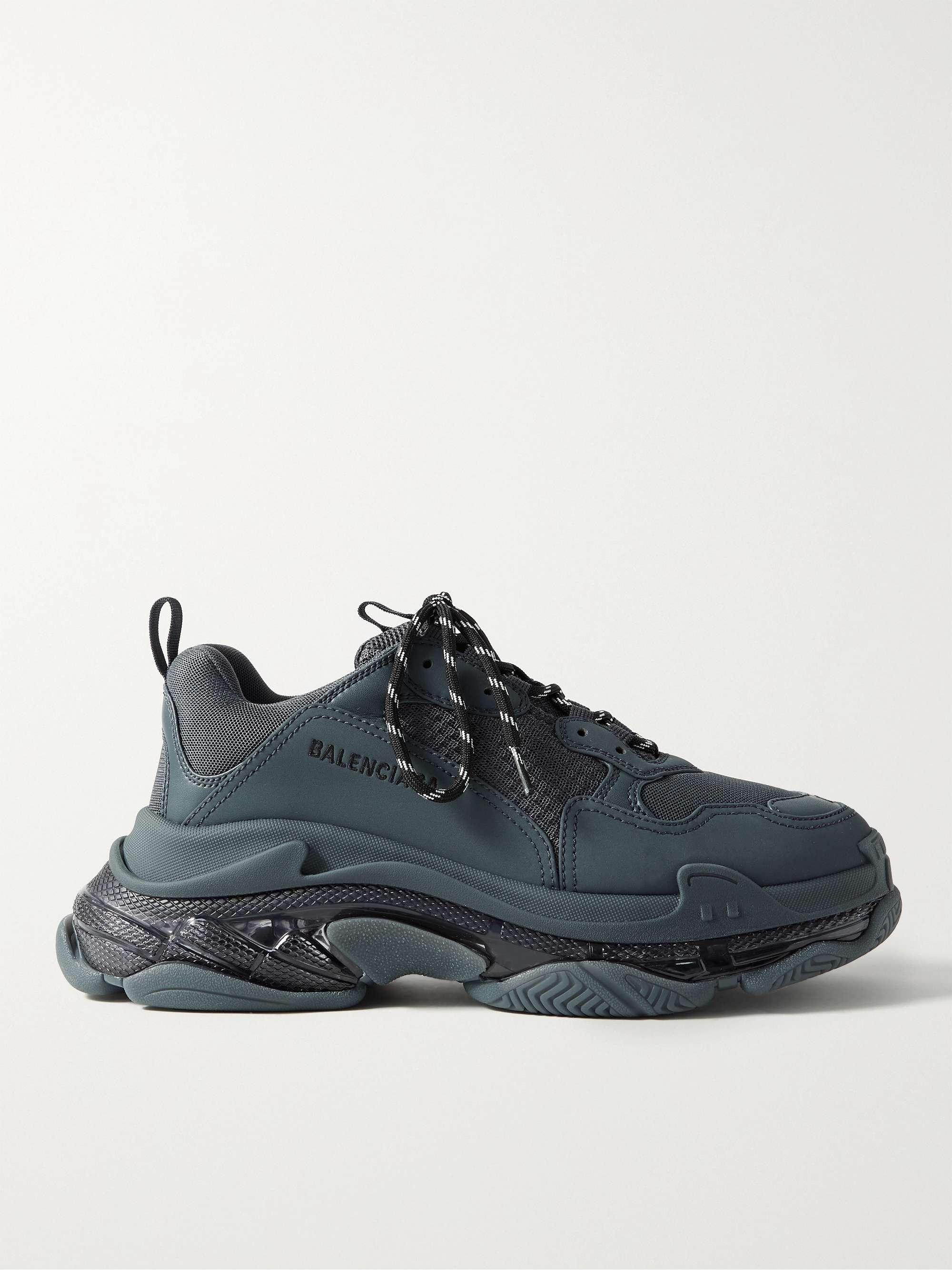발렌시아가 트리플S 남성용 Balenciaga Triple S Mesh and Faux Leather Sneakers,Midnight blue